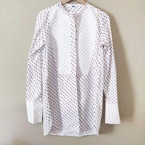 Celine Plastron Mandarin Collar Shirt